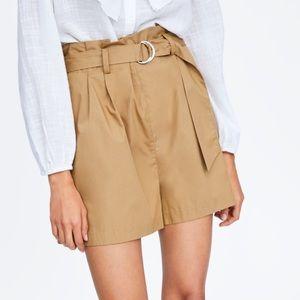 NWT Zara Belted Poplin Shorts